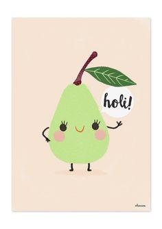 """Birne aus der Serie """"Holi Früchte"""" der spanischen Grafikdesignerin Charuca Vargas Print in Größe A4 (29,7 x 21cm) auf einem stabilem 300g Papier"""