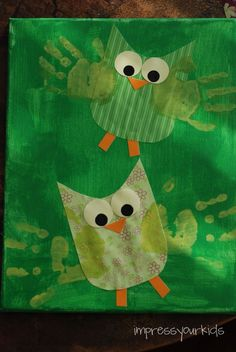"""Owl handprints (make brown or white owls) Guess """"whoooo"""" loves you? Possible idea for Father's Day, etc. Owl Crafts, Animal Crafts, Crafts To Do, Crafts For Kids, Arts And Crafts, Projects For Kids, Art Projects, Footprint Crafts, Handprint Art"""