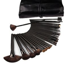 32 Pcs Black Rod Makeup Brush Cosmetic Blending Contouring Application Set Kit with Case - The Accessory Nook - 1