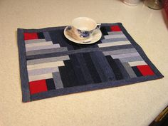 patchwork placemat from recycled denim jeans