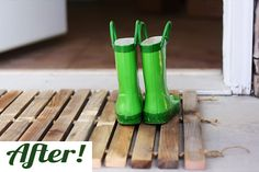Old fence posts transformed to a boot dripper (Apartment Therapy)