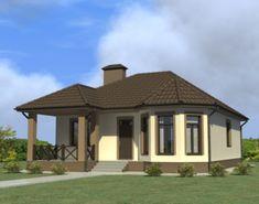 Проект одноэтажного дома, 102,14 м2 | Проекты домов и коттеджей Mexico House, Gazebo, Outdoor Structures, Sims 4, Baby Knitting, Home, Knitting Patterns, House Ideas, Houses