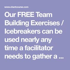 Our FREE Team Building Exercises / Icebreakers can be used nearly any time a facilitator needs to gather a group, get them together, and help them move forward. Team Building Questions, Team Building Games, Team Building Exercises, Ice Breakers, Management Tips, Move Forward, Activities, This Or That Questions, Group