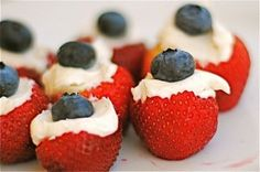 Red White & Blue Stuffed Strawberries