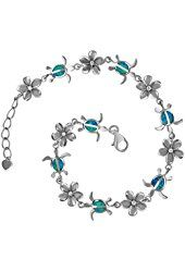 "Rhodium Plated Sterling Silver Synthetic Blue Opal Turtle and Plumeria Bracelet, 7.5+0.75"" Extender"