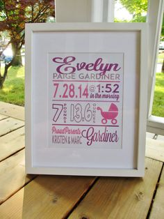 Baby Birth Stats Image (custom digital file)    A cute custom image with all the stats of a new babys birth! Great for a nursery room or a gift