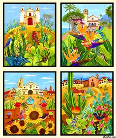 "Los Cabos - Mexican Visions - 24"" x 44"" PANEL - Quilt Fabrics from www.eQuilter.com"