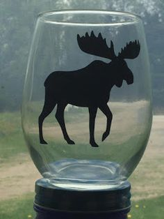 NL crafts: moose Fun Cooking, Newfoundland, Christmas Time, Wine Glass, Moose Art, Montreal Quebec, Glasses, Bulbs, Ontario
