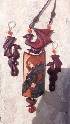 Комплект с драконами, бук, кожа, сердолик.