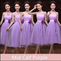 5b6ceed795 Online Shop Purple Dress Bridesmaid Mid Calf Tea Length Tulle Sweetheart  Lavender Bridesmaid Dresses vestido de Festa De Casamento