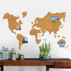 Product Image for WallPops!® Die-Cut Cork World Map Pinboard Decal with Pushpins in Brown 3 out of 3