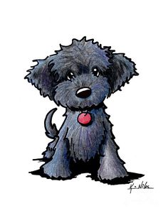 Black Doodle Puppy Canvas Print / Canvas Art by Kim Niles - . - Black Doodle Puppy Canvas Print / Canvas Art by Kim Niles – - Poodle Drawing, Cat Drawing, Puppy Drawing Easy, Drawing Tips, Drawing Ideas, Cartoon Drawings, Animal Drawings, Dog Drawings, Cartoon Cats