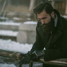 Luke Ditella - full thick black beard and mustache bushy beards bearded man men mens' style fashion winter model #beardsforever