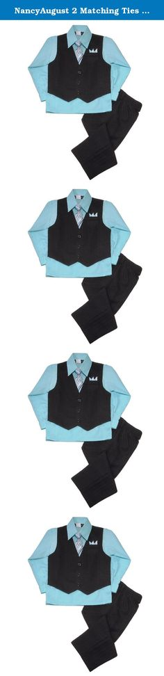 New Boy/'s Black 4 Piece PinStripe Suit Formal Vest Aqua Dress Shirt All Sizes