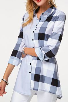 Button Up Long Sleeve Plaid Print Shirt Trendy Tops For Women, Stylish Tops, Blouses For Women, Plaid Outfits, Casual Outfits, Fashion Outfits, Fashion Clothes, Cheap Fashion, Blouse Designs