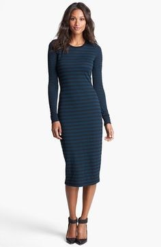 Love this!!! Great with Booties!! Three Dots Stripe Crewneck Midi Dress | Nordstrom