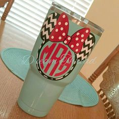 Minnie Mouse chevron monogram Decal, Disney, laptop Decal, yeti decal, car Decal, girly (made to order) by DreamThread on Etsy https://www.etsy.com/listing/278662708/minnie-mouse-chevron-monogram-decal