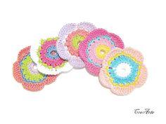 Crochet flowers Set of 5 colorful crochet by CreArtebyPatty