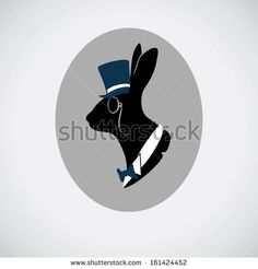 Vintage hare portrait in topper - stock vector
