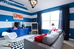 "Modern ""playroom"" for kids? I LOVE this space. That's an adult playroom. So vibrant. So cool. So Mod. Love it!"