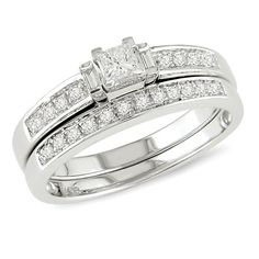 1/3 ct. t.w. Bridal Ring Set in 10K White Gold 9