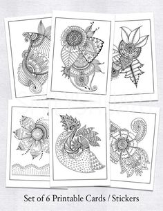 Set Of 6 Printable Cards 5x7 Stickers Planner Coloring Sheets