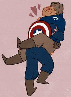 Steve carrying Bucky fanart by sarandco
