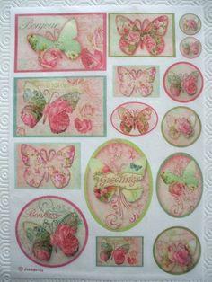 4 Simple Déjeuner serviettes en papier pour découpage Party Craft Vintage Papillons Vert