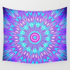 Pink Lavender Turquoise Mandala Wall Tapestry