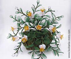 Vaso com Arranjo Floral em Meia de Seda