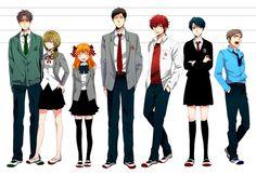 The major characters of the series. From left to right: Wakamatsu, Seo, Sakura, Nozaki, Mikoshiba, Kashima, and Hori