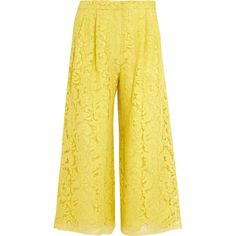 Adam Lippes Corded lace culottes (€1.695) ❤ liked on Polyvore featuring pants, capris, yellow, lace pants, cord pants, yellow pants, lace trousers and adam