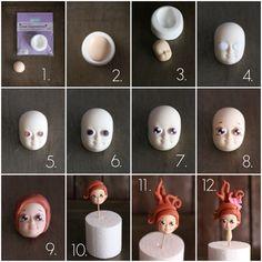 Como modelar una cara con fondant fácil y rápido - Megasilvita Polymer Clay Fairy, Polymer Clay Creations, Yarn Dolls, Clay Dolls, Biscuit, Clay Fairies, Fondant Figures, Pasta Flexible, Salt Dough