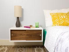 Floating Nightstand with Sliding Doors Mid Century by GraceModern