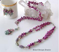 Schaef Designs Pearl & Gemstone Jewelry   Moss Aquamarine Keishi Pearl Tourmaline Rhodolite Garnet Long Necklace   Online Jewelry Boutique   San Diego