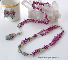 Schaef Designs Pearl & Gemstone Jewelry | Moss Aquamarine Keishi Pearl Tourmaline Rhodolite Garnet Long Necklace | Online Jewelry Boutique | San Diego