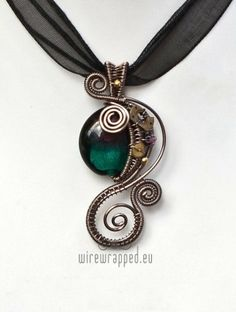 Teal and purple steampunk wire wrapped necklace by barbra