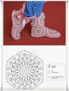 Afrikan tähti tossut virkkaus ohje hexagon crochet slippers - make a rectangle the length and the width of your feet and assemble on it 3 of these hexagons for the body of the slipper. Make to more to create a boot effect! Crochet Motifs, Crochet Diagram, Crochet Chart, Love Crochet, Crochet Granny, Crochet Stitches, Knit Crochet, Crochet Patterns, Hexagon Crochet
