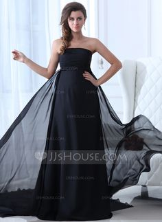 Holiday Dresses - $139.99 - Empire Strapless Chapel Train Chiffon Holiday Dress With Ruffle (020017376) http://jjshouse.com/Empire-Strapless-Chapel-Train-Chiffon-Holiday-Dress-With-Ruffle-020017376-g17376