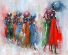 Yveline JAVER - Femmes du monde, les africaines - Peinture - huile sur toile