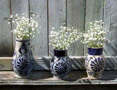 Wedding Decoration / Rustic Wedding by CarolesWeddingWhimsy, $65.99  Rustic Wedding Decoration Vintage Williamsburg Pottery Vases can be found at https://www.etsy.com/listing/127692016/wedding-decoration-rustic-wedding SOLD