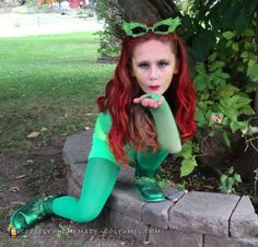 I came up with the idea because our family was going to do the Bad Guy villain theme. I sprayed her hair red. Homemade Costumes, Diy Costumes, Costume Ideas, Halloween Costumes, Poison Ivy Costumes, Cool Diy, Her Hair, Comic Book, Happy Halloween