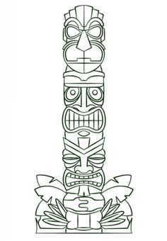 Tiki Totem pole coloring page. Free printable coloring pages with a wide variety of themes for printing and coloring. Tiki Tattoo, Totem Tattoo, Totem Pole Drawing, Totem Pole Art, Hawaiian Tiki, Hawaiian Theme, Arte Bar, Tiki Maske, Tiki Pole