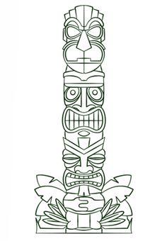 Tiki Tribal Pole Coloring page