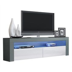 Milano Classic Modern 16 color 63-inch TV Stand | Overstock.com Shopping - The Best Deals on Entertainment Centers - Gray/Wavy Black Living Room Storage, Living Room Sofa, Storage Spaces, Wall Tv Stand, 70 Inch Tvs, Black Tv Stand, Modern Tv, Entertainment Room, Discount Furniture