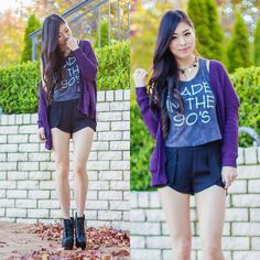I love that purple cardigan!! It looks so nice with the darker colors. I maybe wouldn't wear a tank top and shorts like that.