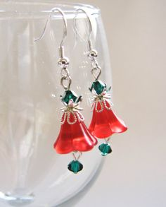 Bell Earrings Christmas Earrings by EvaLineJewelry on Etsy,