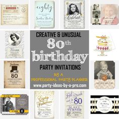 Tasteful, humorous, and personalized birthday invitations recommended by a professional party planner 80th Birthday Invitations, 90th Birthday Parties, Invites, Birthday Ideas, Birthday Decorations, Party Planning, Birthdays, How To Plan, Party Ideas