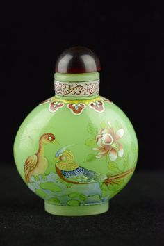 Chinese Peking Glass Snuff Bottle Painted Birds