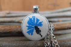 Blue cornflower pendant, Embroidery jewelry, Flower pendant, Embroidered necklace, Wild flower pendants, Gift for her, Cross stitch, Present